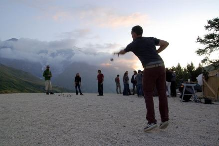 French grad students enjoying an evening game of pétanque